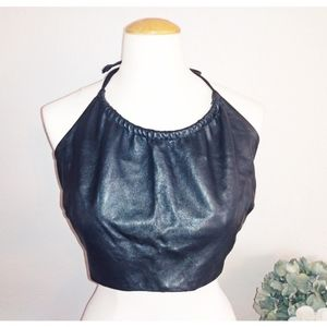Leather Network black leather top